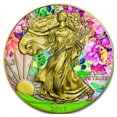 Silver American Eagle Summer Colorized and 24K Gold Gilded Coin