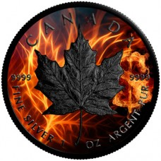 2018 Burning Maple Leaf, Colorized & Ruthenium Plated Coin