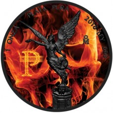 2018 Silver Mexico Burning Libertad - Colorized and Ruthenium plated coin