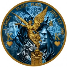 2018 Silver Mexico Libertad - The King - Colorized and Gold Gilded coin
