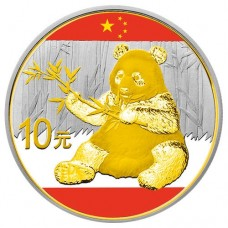 2017 Silver China Panda Colorized and Gold Gilded