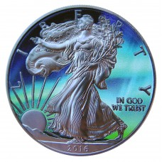 American Silver Eagle - Northern Lights, Ruthenium plated and Colorized