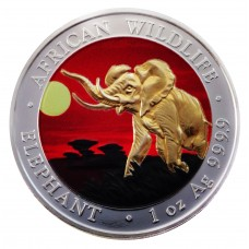 1 oz 9999 Silver Somalia Elephant 2016 Coin Colorized and Gold Gilded Sunset