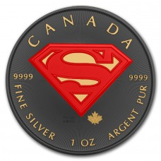 1 oz Silver Superman Coin Ruthenium Plated Gold Gilded and Colored by Golden Noir Series