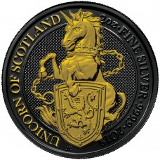 2018 Great Britain 2 oz Silver Queen's Beasts The Unicorn, Ruthenium Plated and Gold Gilded Coin