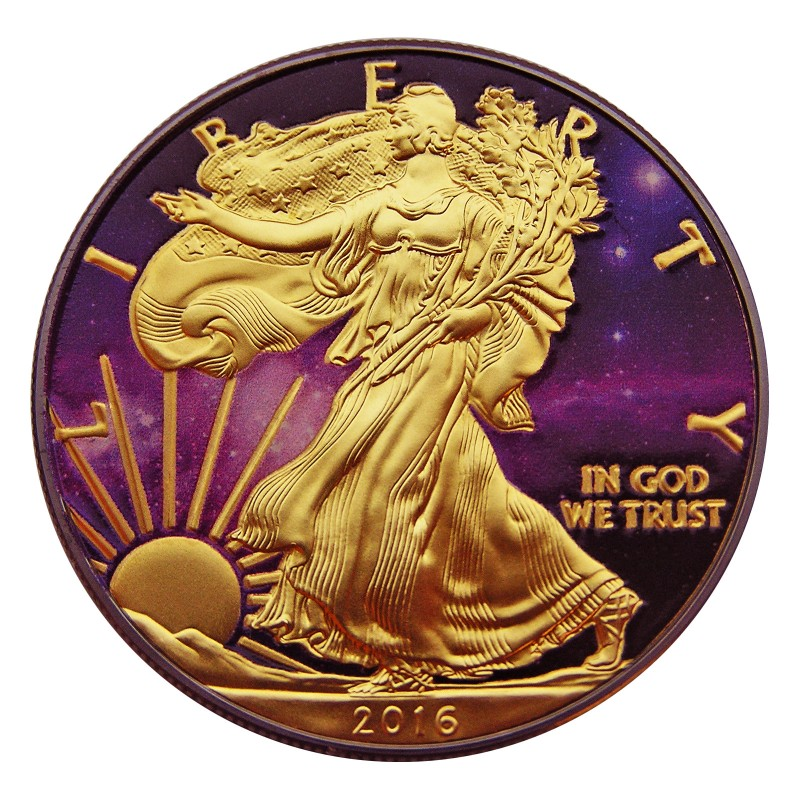 Silver Coin American Eagle Ruthenium Plated Colorized And