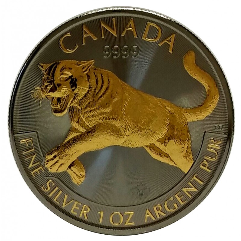 2016 1 Oz Silver Puma Ruthenium Plated And Gold Gilded
