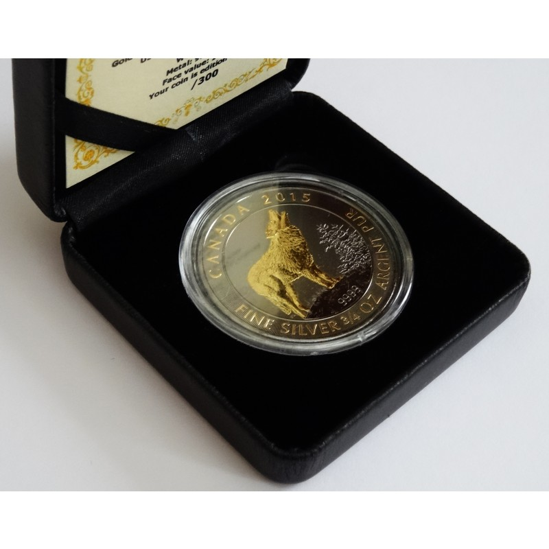 Ruthenium and Gold Gilded Wolf in box with CoA- Canada grey wolf silver coin VAT free