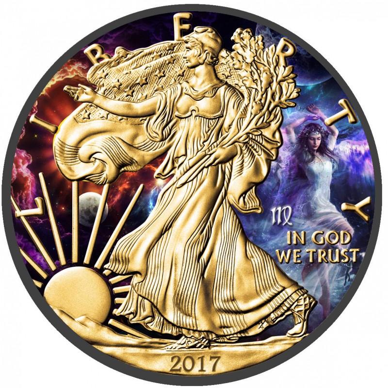 American Silver Eagle Zodiac Series Virgo Coin Colorized, 24k Gold