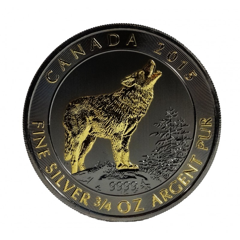 Ruthenium and Gold Gilded Wolf - Canada grey wolf silver coin VAT free